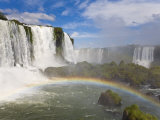 Brilliant Rainbow Visible in the Mists from the Iguacu Falls Photographic Print by Mike Theiss