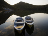 Boats on Lake-Filled Katanuma Crater in the Center of Narugo Volcano Photographic Print by Michael S. Yamashita
