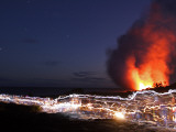 Tourists Make Trail of Flashlights as They Watch Volcanic Action Photographic Print by Steve & Donna O'Meara