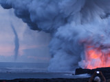 Waterspout Forming Offshore from an Erupting Kilauea Volcano Vent Photographic Print by Steve & Donna O'Meara