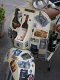 Scooter Covered with Wine Labels and Stickers Photographic Print by  Keenpress