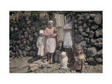 Two Women and their Children Stand Outside of a Stone Cottage Photographic Print by Wilhelm Tobien