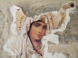 Jerusalem, Israel, Close-up of Torn Picture Mary, Mother of Jesus Photographic Print by Richard Nowitz