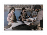 Citizens of Holstensborg Prepare Halibut for Canning at the Factory Photographic Print by Jacob Gayer