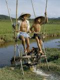 Father and Son Irrigate Rice Fields by Pedaling an Irrigation Machine Fotografisk trykk av Joseph Baylor Roberts