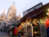 Street Scene in Montmartre with Sacre-Coeur in the Background Photographic Print by Richard Nowitz
