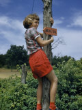 Girl Climbs Signpost Marking Trail Near Abraham Lincoln's Birthplace Photographic Print by William Gray
