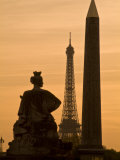Obelisk of Luxor, Eiffel Tower and Statue De Strasbourg at Dusk Photographic Print by Richard Nowitz