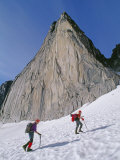 Mountain Climbers Approach Snowpatch Spire in the Bugaboo Mountains Photographic Print by Gordon Wiltsie