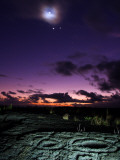 Crescent Moon and Corona, Venus, Jupiter, and Petroglyphs in Lava Rock Photographic Print by Steve & Donna O'Meara