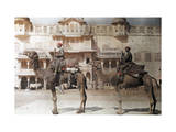 Two Men Bring their Camels to the Royal Stables of Jaipur Photographic Print by Franklin Price Knott