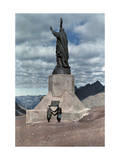 Two Men Standing in Front of the Peace Statue, Christ of the Andes Photographic Print by Jacob Gayer
