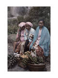 Three Women Traders Sit by their Baskets of Fruits and Vegetables Photographic Print by W. Robert Moore