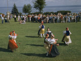 Folk Dancers in Swedish Costumes Swirl around an Accordion Player Photographic Print by Jack Fletcher