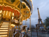 Carousel Within Sight of the Eiffel Tower Photographic Print by Richard Nowitz