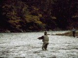 Two Men Fly-Fishing in a Swift Moving River Photographic Print by Raymond Gehman