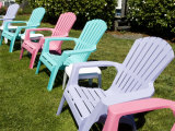 Plastic Lawn Chairs at a Motel Photographic Print by Richard Nowitz