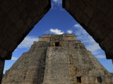 Pyramid of the Magician at Uxmal Through an Arched Entry Photographic Print by Raul Touzon