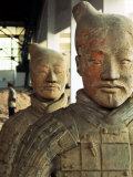 Terra Cotta Soldiers with Facial Pigment Rise from 2,000 Year Grave Photographic Print by O. Louis Mazzatenta