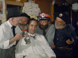 Men Shave Off Beards Grown Especially for a Historical Celebration Photographic Print by Jack Fletcher