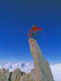 Alex Lowe Atop a Pinnacle on 2850-Meter Mount Bearskin Photographic Print by Gordon Wiltsie