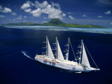 Sailing Yacht Outside the Reef at Bora Bora Photographic Print by Paul Chesley