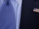 Tie and Lapel Pin on a Secret Service Agent Guarding President Bush Photographic Print by National Geographic Photographer