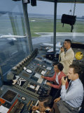 Air Traffic Controllers Direct Traffic from a Radio Console Photographic Print by David Boyer