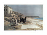 Women Wash Family Linens at the Beach Photographic Print by Hans Hildenbrand
