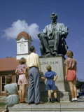 Tourists Look Up at a Statue of Abraham Lincoln Photographic Print by William Gray