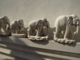 Wooden Carvings of Elephants Adorn the Edges of a Temple Complex Fotografisk tryk af Paul Chesley