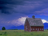 Bridger Mountains and an Old Barn and Pasture in Gallatin Valley Photographic Print by Gordon Wiltsie