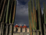 Church of San Pablo Built with Zapotec Remains Between Tall Cacti Photographic Print by Raul Touzon