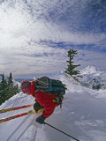 Out-Of-Bounds Skier on a Ridge in Front of Mount Baker Photographic Print by Gordon Wiltsie