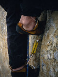Close Up of a Team Member's Feet Wedged in a Crack in the Granite Photographic Print by Bobby Model