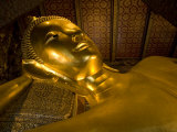 Gilded Reclining Buddha Statue at the Wat Po Temple, Bangkok Photographic Print by Rebecca Hale