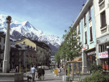 Town Center of Chamonix and Mont Blanc in the Background Photographic Print by Richard Nowitz