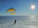 Parasailing in Katabatic Winds on the Vast Polar Icecap Photographic Print by Gordon Wiltsie