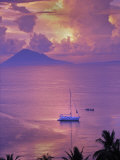 Sailboat Anchored in the Pacific Ocean at Sunset Off the Manado Coast Photographic Print by Greg Dale