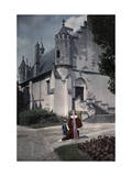Woman and Child in Period Costume Walk Toward the Loches Chateau Lámina fotográfica por Courtellemont, Gervais