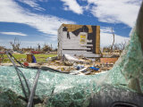 Looking Through a Broken Windshield at Destruction from a F-5 Tornado Photographic Print by Mike Theiss