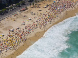 Aerial of Large Crowd at the Copacabana Beach in Rio De Janeiro Photographic Print by Mike Theiss