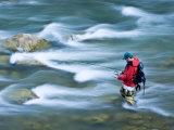 Fly Fisherman Looks for a Sure Thing on the Hoback River, Wyoming Photographic Print by Drew Rush