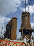 Blast Furnaces Tower over Steel Workers on a Lunch Break Photographic Print by Jack Fletcher