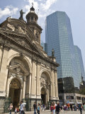 Santiago, Chile, Metropolitan Cathedral in Plaza de Armas and New Office Tower, Photographic Print