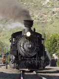 Durango and Silverton Railroad Narrow Gauge Trains Leave the Station Fotografisk tryk af Rich Reid