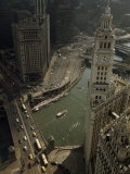 View of Wrigley Building, Michigan Avenue Bridge, and Chicago River Photographic Print by B. Anthony Stewart