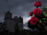 Red Roses and the Church of La Preciosa Sangre at Dusk Photographic Print by Raul Touzon