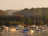 Boats, Fall Foliage, and Fog on the Maine Coast Photographic Print by Darlyne A. Murawski