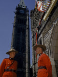 Police Guard the Peace Tower, a Carillon and World War I Memorial Photographic Print by Bates Littlehales